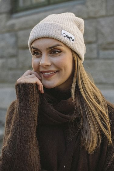 Recycled Wool Knit Hat Sand