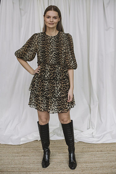 Pleated Georgette Mini Dress Leopard