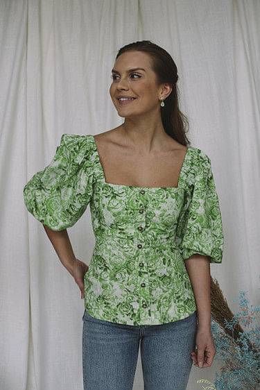 Puff Sleeve Poplin Top Island Green