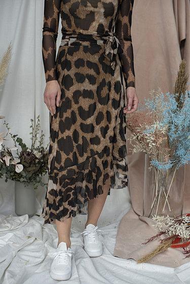 Printed Mesh Wrap Skirt Maxi Leopard