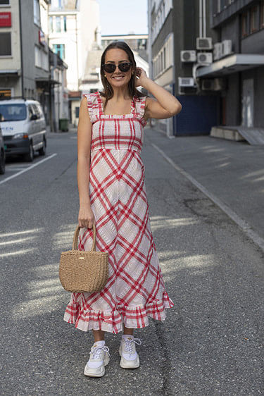 Seersucker Check Maxi Dress Cherry Blossom