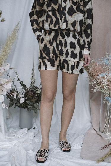 Silk Linen Shorts Maxi Leopard