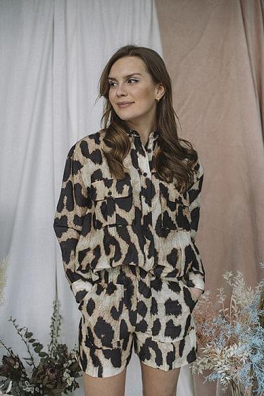 Silk Linen Shirt Maxi Leopard