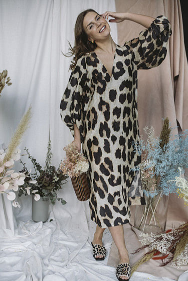 Silk Linen Dress Maxi Leopard