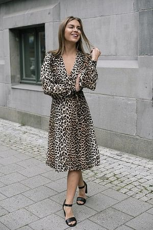 Silk Mix Dress Leopard