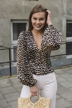 Silk Stretch Satin Blouse Leopard