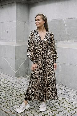 Silk Stretch Satin Dress Leopard