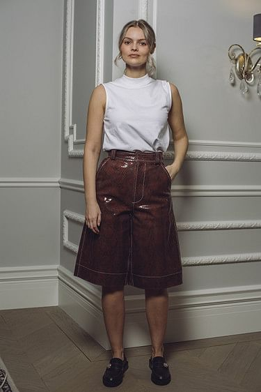 Snake Foil Leather Shorts Decadent Chocolate