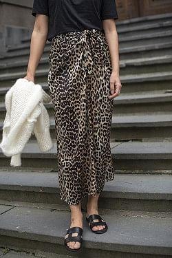 Silk Stretch Satin Skirt Leopard