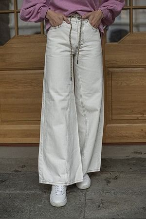 Washed Denim Wide Pants Bright White