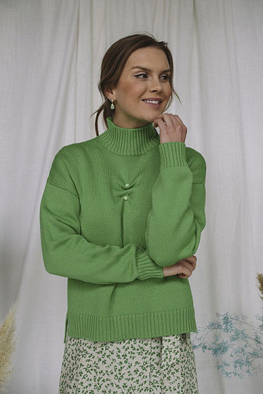 Wool Knit Sweater Green