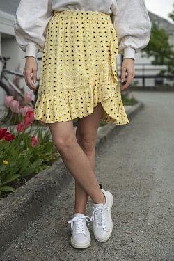 Printed Crepe Miniskirt Maize