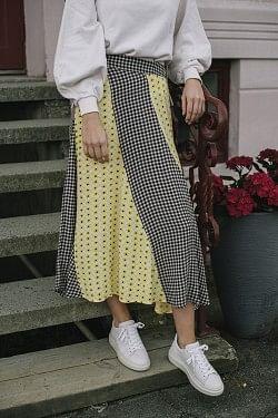Printed Crepe Long Skirt Block Colour