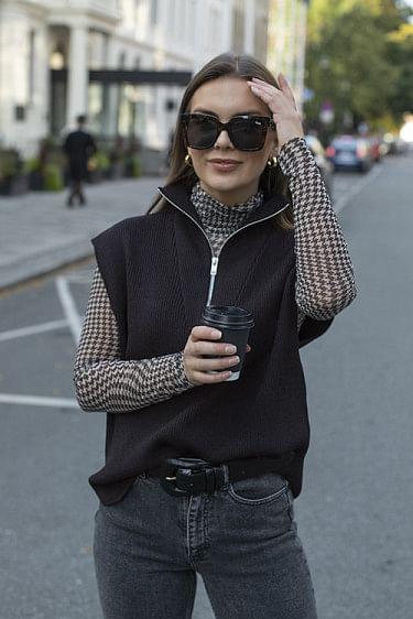 Melange Knit Vest Chicory Coffee