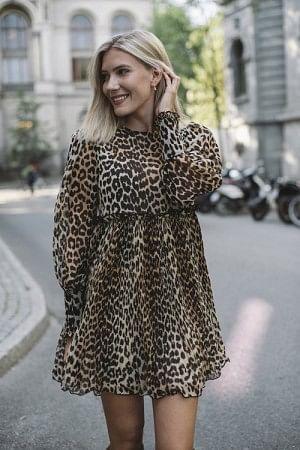 Pleated Georgette Mini Dress Leopard