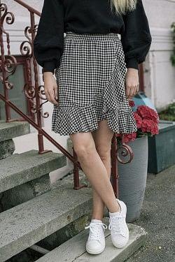 Printed Crepe Miniskirt Black