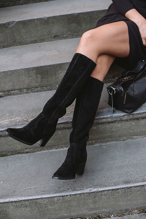 Western Knee High Boots Black