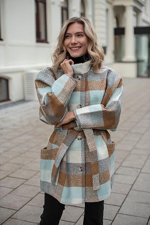 Gestuz Anaya Coat Iced Blue/Brown kåpe