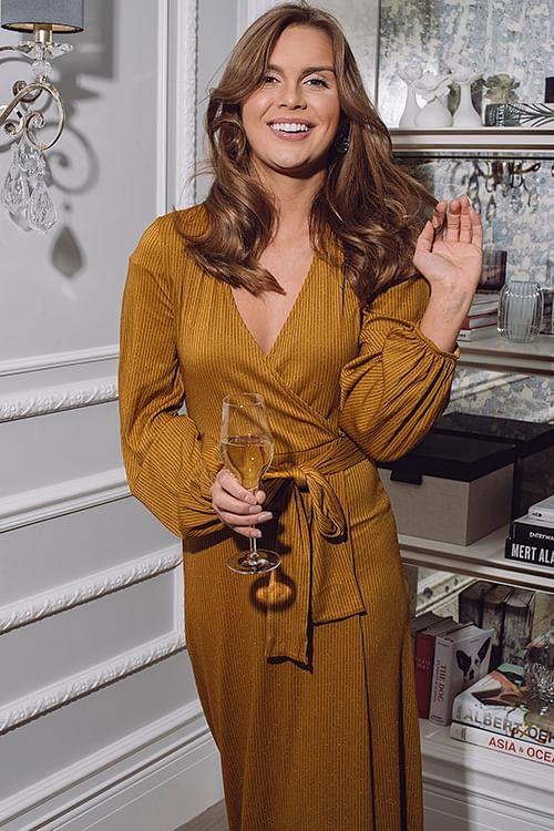 Gestuz Justa Wrap Dress Bone Brown kjole