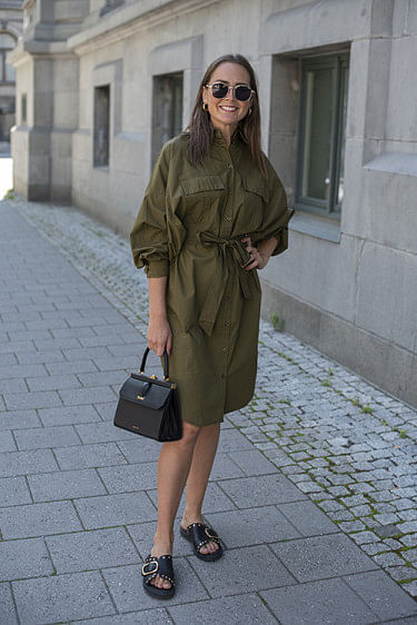Stalie Shirt Dress Dark Olive
