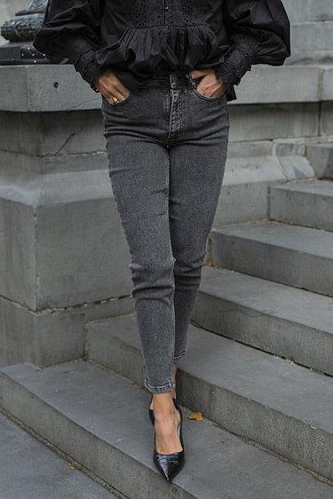 Astrid High Waist Slim Jeans Vintage Grey