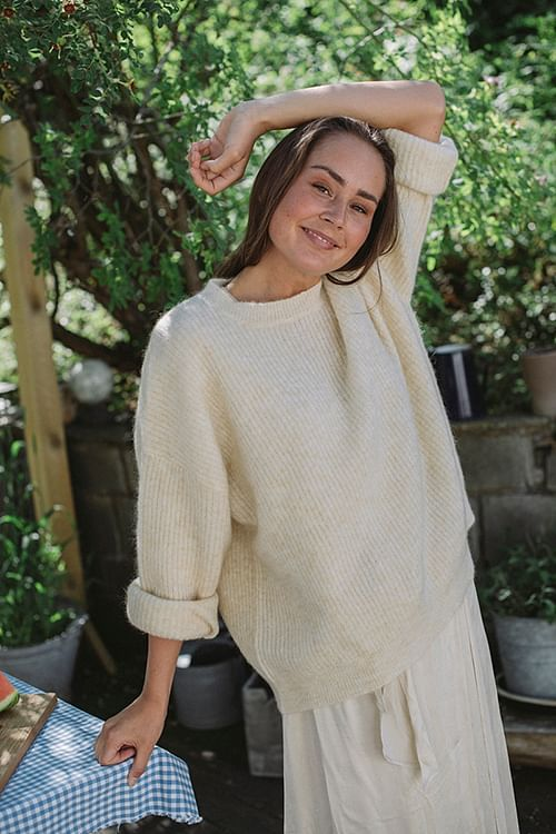 Nora Knit Sweater Yellow Stripe