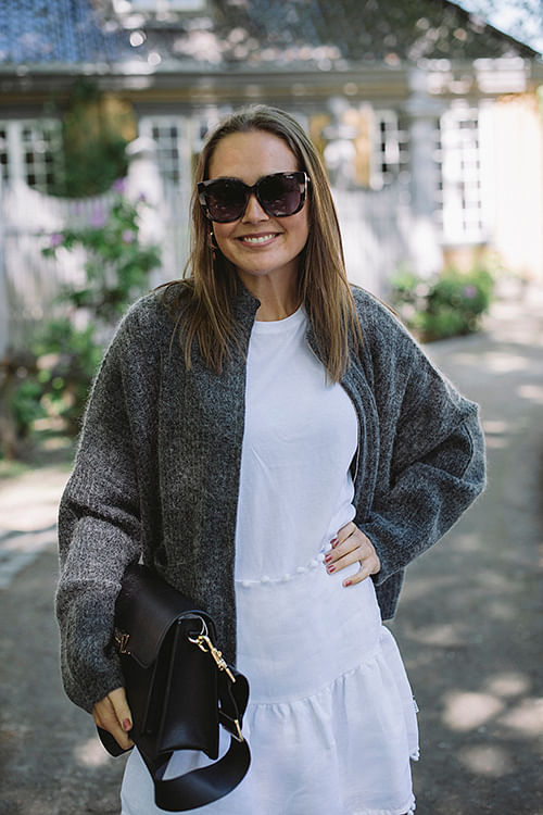 Penguin Knit Cardigan Charcoal
