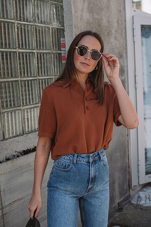 Holzweiler Sagveien Pique Terracotta t-skjorte