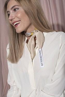 Fabric Stripe Silk Neck Yellow
