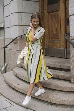 Sande Dress Yellow Stripe