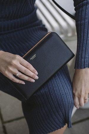 Zip Around Wallet Grained Black