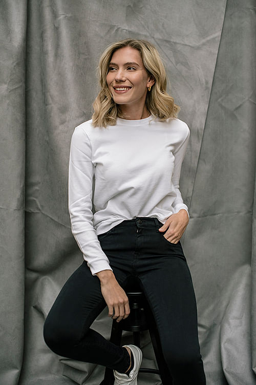 Anita College Sweater Round Neck White