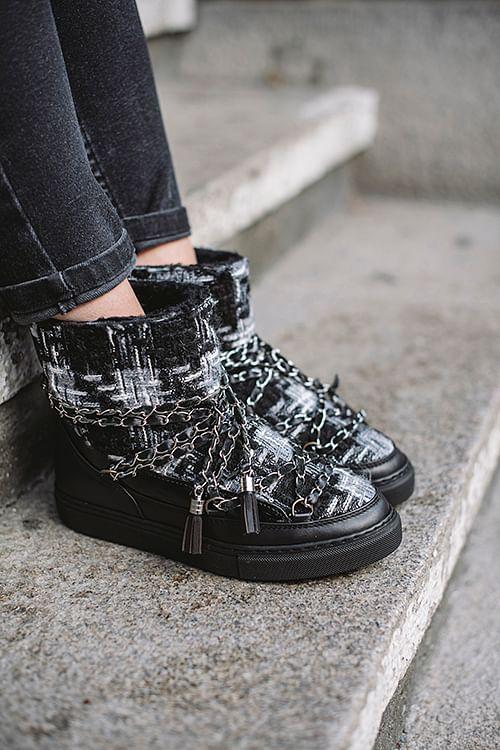Inuikii Sneaker English Tartan Women Black vintersko