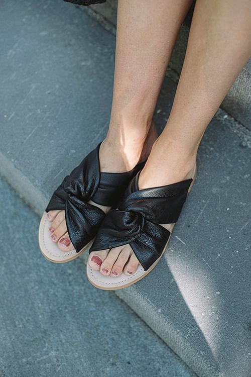 Ellie Soft Leather Sandals Black