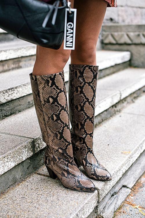 Ivylee Rita Faux Python Boots Dark Brown