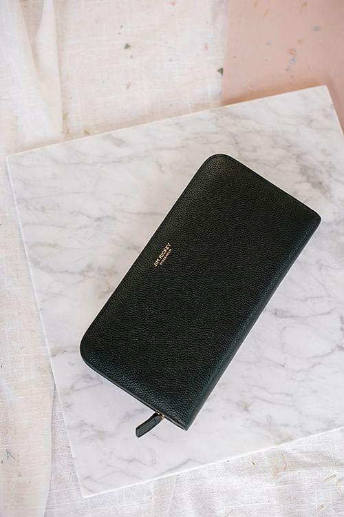 jim Rickey Zip Around Wallet Grained Black lommebok