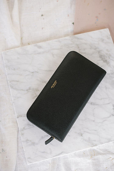 Zip Around Wallet Grained Black