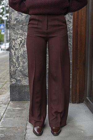 Alana Silk Crepe Trousers Maroon