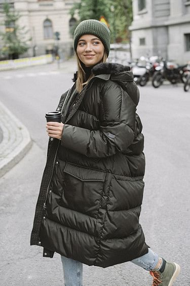 Long Oversized Quilted Parka Dark Green