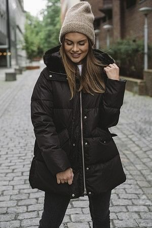 Down Coat Faux Fur Black
