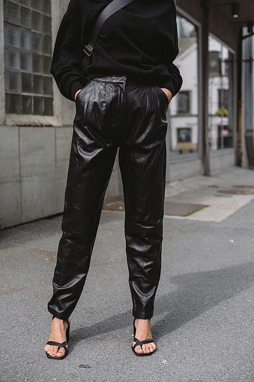 Loulou Studio Palaos Leather Pants Black skinnbukse