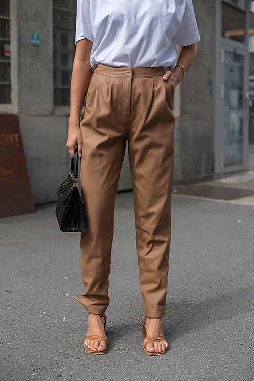 Loulou Studio Palaos Leather Pants Caramel skinnbukse
