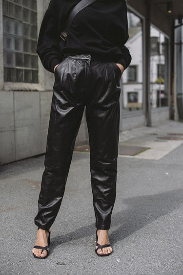 Palaos Leather Pants Black