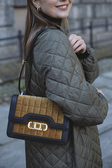 The J Link Quilted Velvet Bag Golden