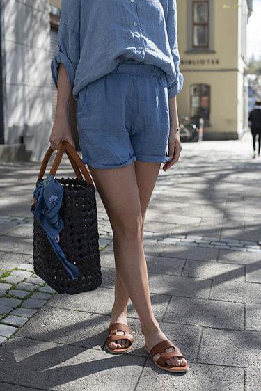 Linen Shorts Denim Blue