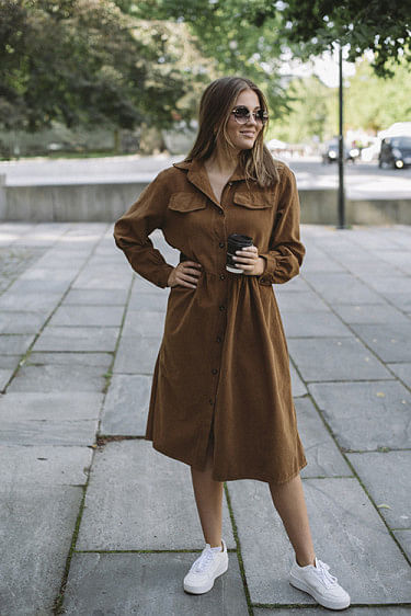 Maja Cord Dress Dark Camel