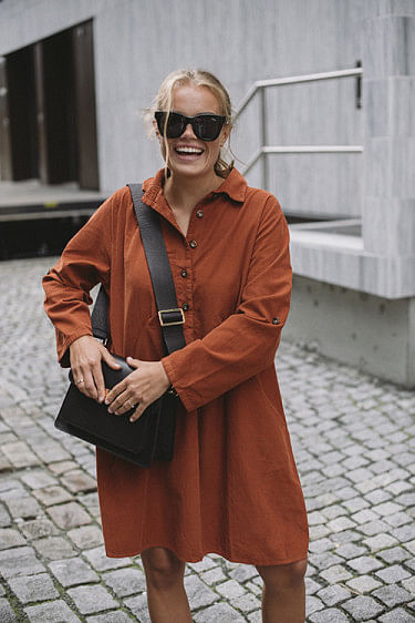 Matilde Cord Dress Burnt Orange