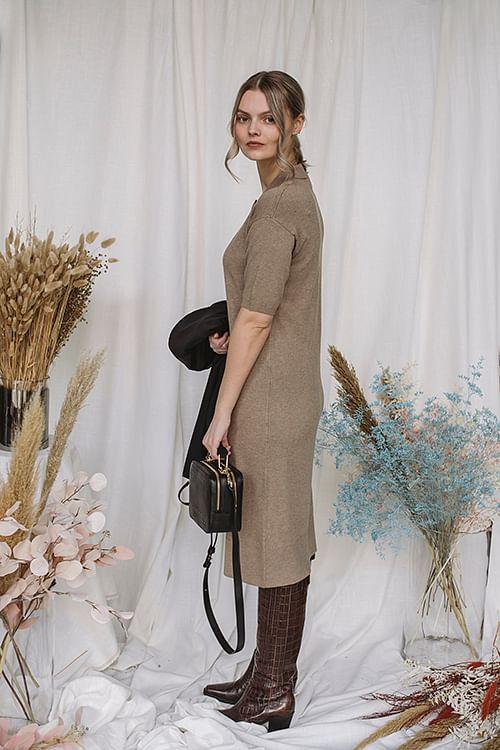 Chelsea Knit Dress Brown Melange | Carma
