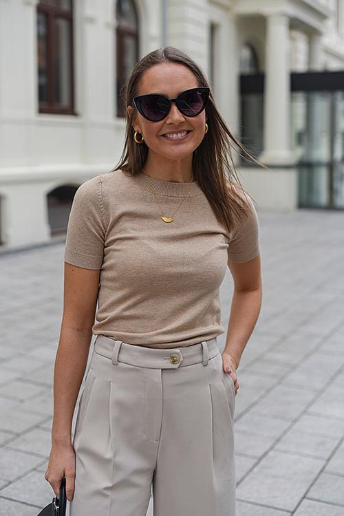 Chloe Knit Top Beige Norr T-skjorte