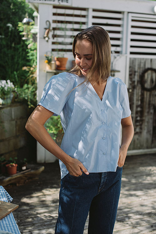 NORR Shelly Shirt Light Blue skjorte topp